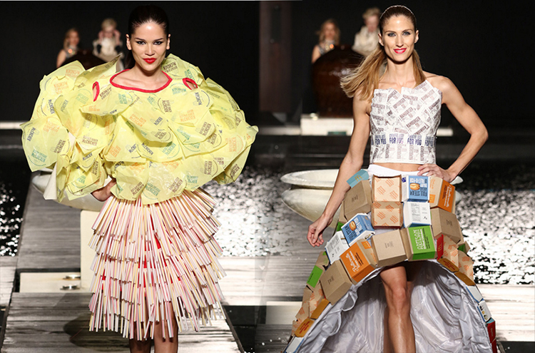 Skirts made of recycled wrappers and boxes