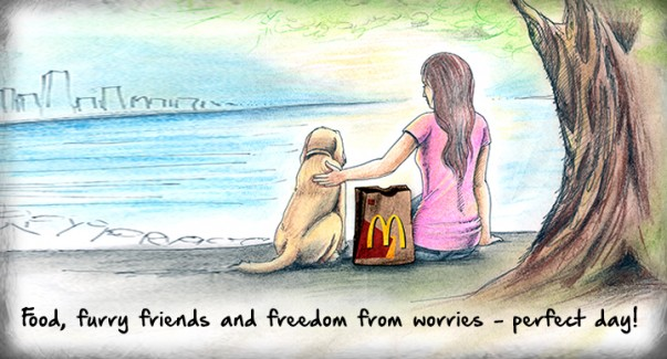 Food, furry friends and freedom from worries - perfect day!