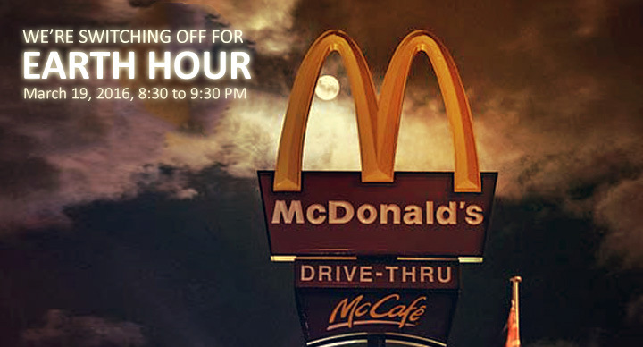 McDonald's Earth Hour March 19, 2016
