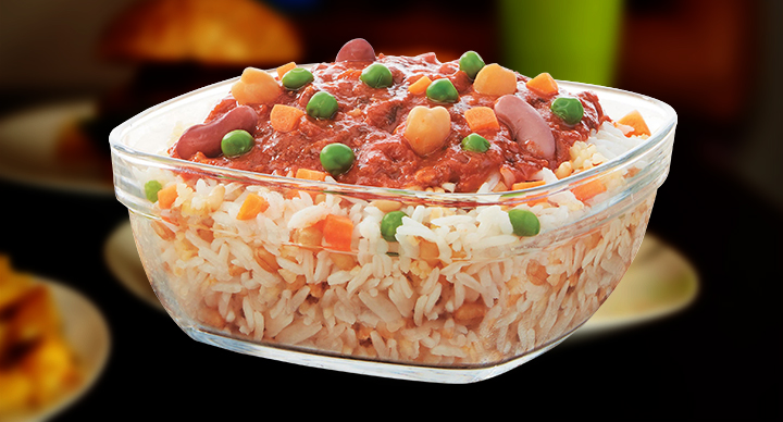 bean and gravy rice bowl veg chicken
