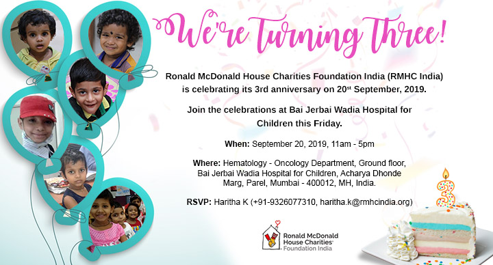 RMHC Family Room India is turning three on 20th September